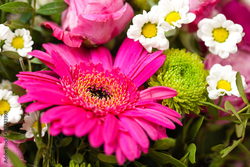 Purple gerberas in a bouquet of other flowers