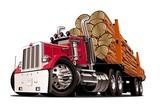 Fototapety Cartoon logging truck