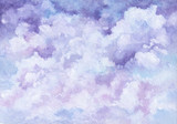 Sky and Clouds in Pastel Colors. Watercolor Background