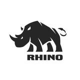 Angry rhino. Monochrome logo. - 167790533