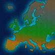 Europe continent outline european borders silhouette ocean map concept design.