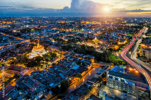 Gloden mountain and temple in Bangkok city during sunset near wat phra kaew in Thailand, Asia.