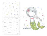 Fototapety Mermaids exist. Surface design for kids and 2 seamless patterns