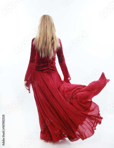 Beautiful Lady With Long Blonde Hair Wearing A Red Medieval Fantasy