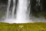Closeup of waterfall against green grass. Icelandic landscape.