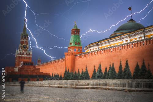 Aluminium Moskou Kremlin. Powerful lightning strike.