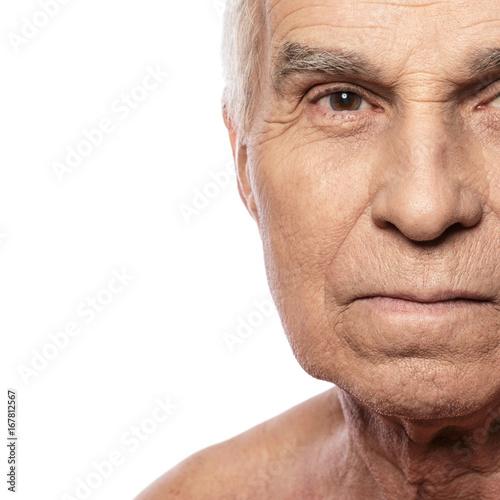 Juliste Senior man on white background