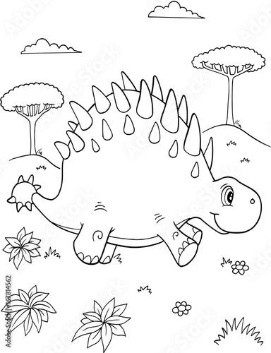 Papiers peints Cartoon draw Cute Dinosaur Vector Illustration Art