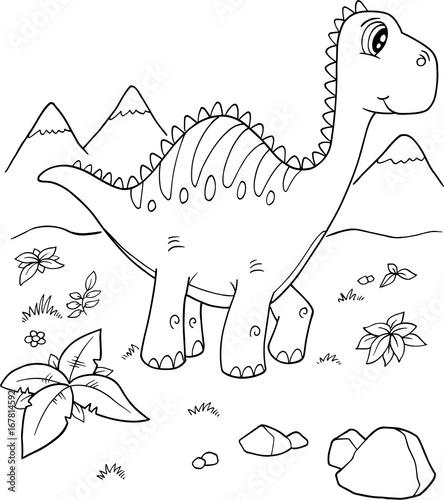 Aluminium Cartoon draw Cute Brachiosaurus Dinosaur Vector Illustration Art