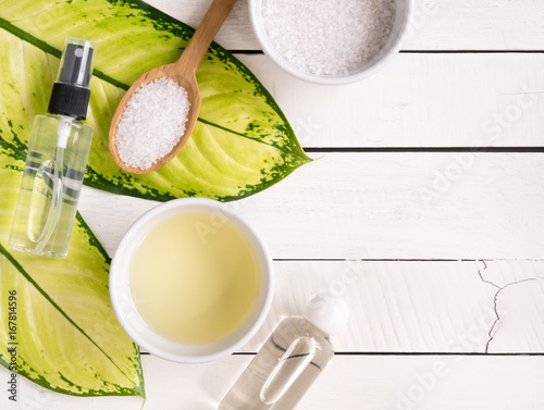 Staande foto Spa Natural skincare products,aromatherapy oil and salt with copy space.