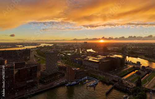Sunset over Rotterdam harbor from the Euromast