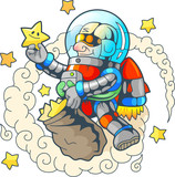 Cartoon funny astronaut collects stars - 167822771
