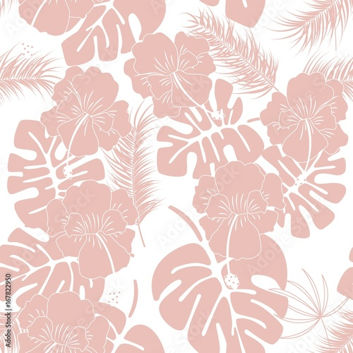 Seamless tropical pattern with pink monstera leaves and flowers on white background - 167822950