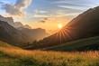 canvas print picture - Sonnenuntergang auf der Hallerangeralm im Karwendel