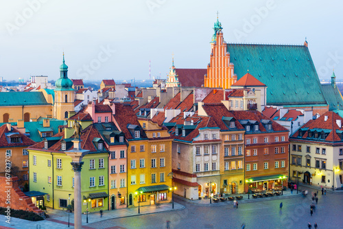 Fototapety, obrazy : view on Old Town in Warsaw at dusk, Poland