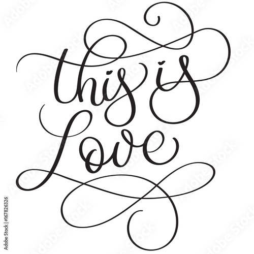 This is love words on white background. Hand drawn Calligraphy lettering Vector illustration EPS10