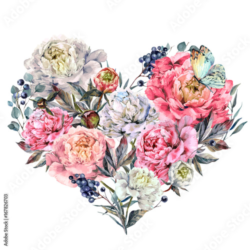 Watercolor Heart made of Peonies and Lilac - 167826703