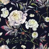 Watercolor White Peonies Pattern - 167826946