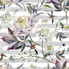 Watercolor White Peonies Pattern