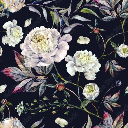 Watercolor White Peonies Pattern - 167826946