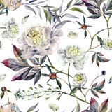 Watercolor White Peonies Pattern - 167829762