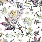 Watercolor White Peonies Pattern