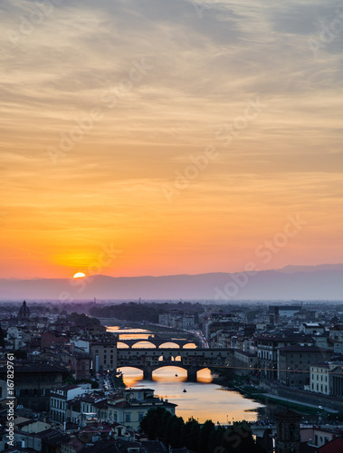 Staande foto Florence Arno River at Sunset