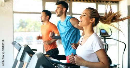 Sticker Group of friends exercising on treadmill machine