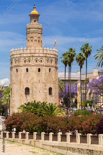 View of Torre del Oro, Seville, Spain.