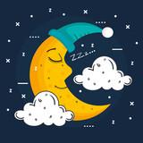 sleeping moon in nightcap isolated on blue background vector illustration