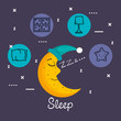 sleeping moon in nightcap isolated on blue background vector illustration - 167832116
