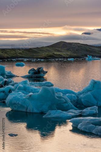 Foto op Canvas Zee zonsondergang Gletscher lagune