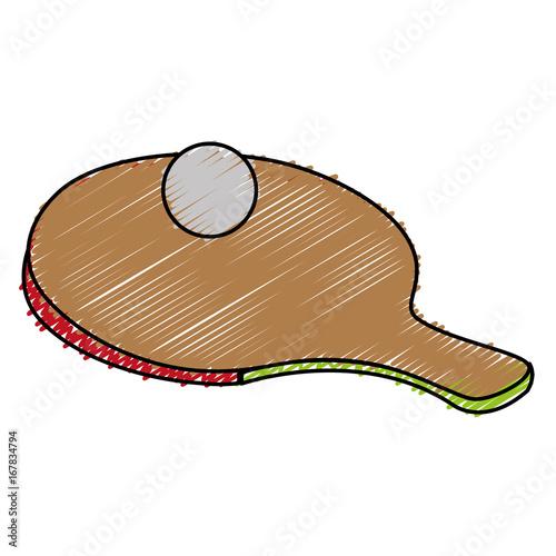 ping pong racket and ball vector illustration design