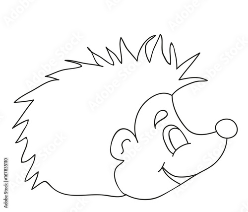 Vector, isolated hedgehog book coloring pages