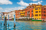 Grand canal panoramic view Venice Italy historical architecture