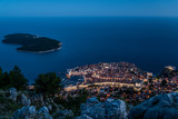 Night view of Dubrovnik old town and Lokrum island, Croatia - 167838950