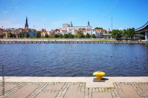 Poster Szczecin waterfront with visible cathedral and Pomeranian Dukes Castle, Poland.