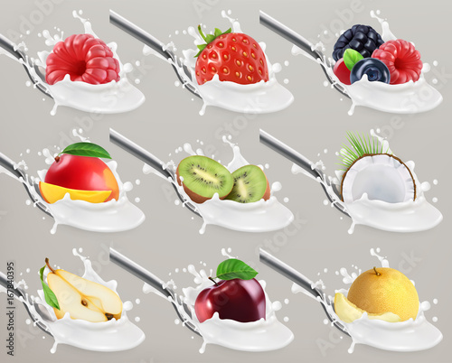 Fruit and berries yogurt. Milk splash. 3d realistic vector icon set