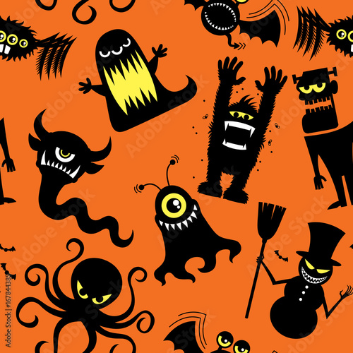 Materiał do szycia Silhouette Monsters Pattern / Seamless pattern with silhouettes of cartoon monsters.