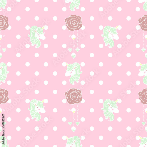 Cute unicorn diamond seamless pattern and old rose in polka dot background. - 167845367