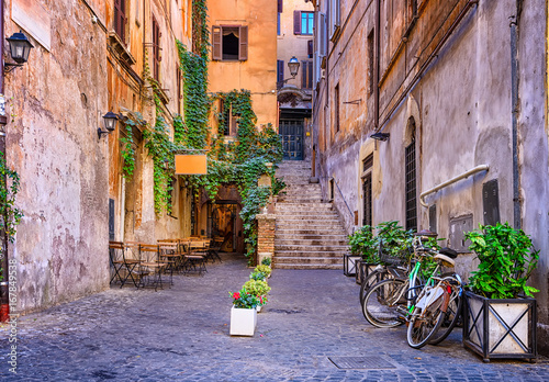 View of old cozy street in Rome, Italy Poster