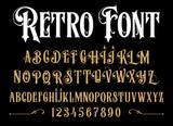 Vector retro alphabet. Vintage font. Typography for labels, headlines, posters etc.  - 167850921