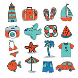set of hand drawn vector icons for summer vacations - 167851542