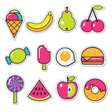 set of funny vector food stickers - 167851554