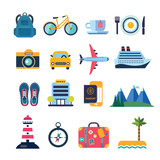 set of color vector flat icons for summer travel - 167851565