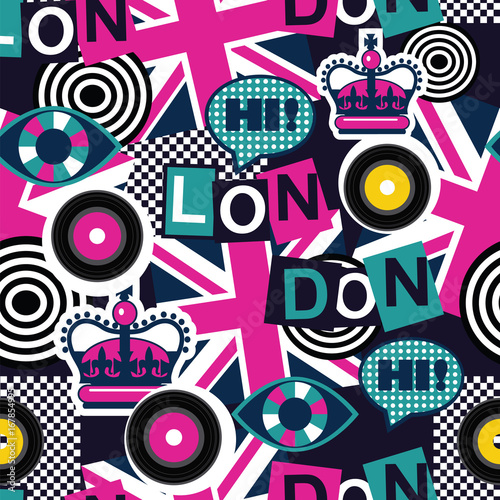 Fotobehang Pop Art london musical pop art seamless pattern