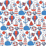 color comic vector childish sea pattern - 167855124