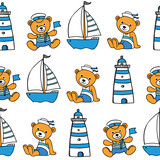 childish nautical seamless pattern with bears and boats - 167855155