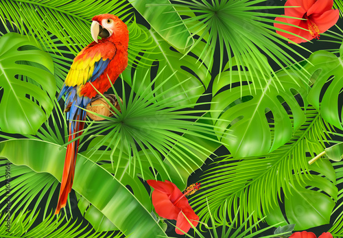 Fototapeta Jungle leaves and parrot, seamless pattern. 3d vector realistic background
