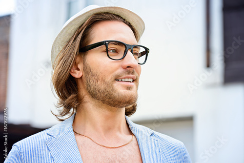 portrait of a hipster guy - 167872976